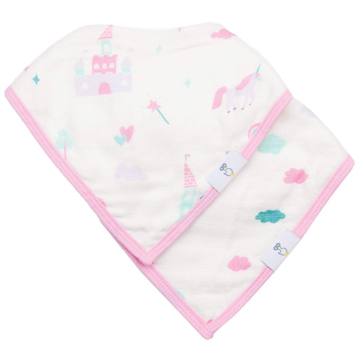 2 PK Muslin & Terry Cloth Bib Set, Clouds/Castles