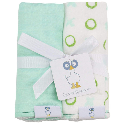 2 PK Muslin & Terry Cloth Burp Cloth Set, XO/Mint