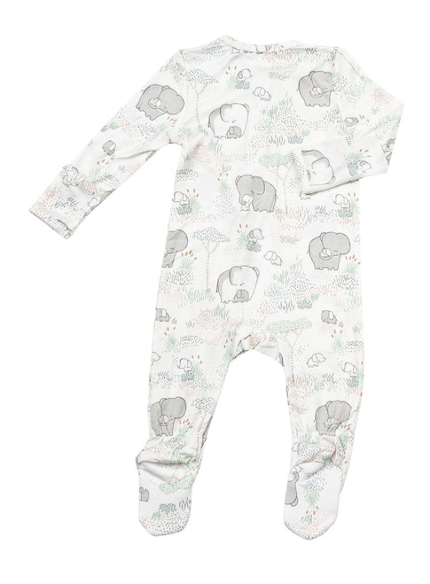 Green Elephant Front Zipper (0-3M)
