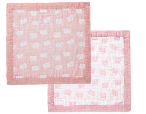 Angel Dear Jacquard Blankie - Sheep Pink