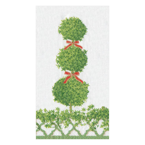 Topiaries Paper Guest Towel Napkins in Green Border - 15 Per Package