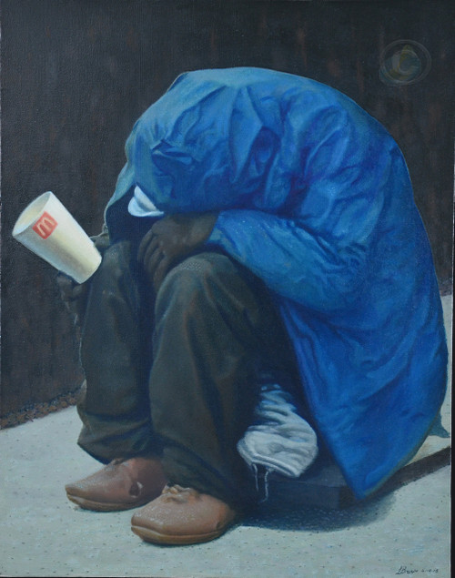 Painting by Artist, Larrie Brown of hunger and a feeling of loneliness.  Is there a way out?