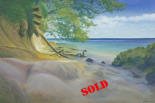 Poor Man Dunn's River Original Oil on Canvas Painting by Artist Larrie Brown
