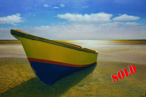Little Ochie is a Blue and Yellow Boat sitting on a sunny seashore