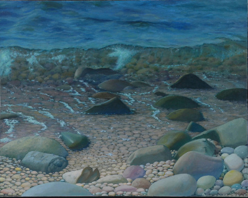 Heart In Stone is a view of the Ocean with splashing water by Artist Larrie Brown
