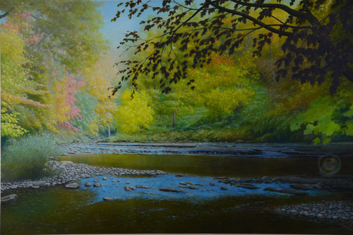 Harpeth River Blue Flow  Original Oil on Canvas by Artist Larrie Brown