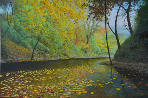 Harpeth River Floating Leaves an Original Oil on Canvas Painting by Artist Larrie Brown