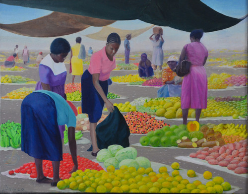 May Pen Oranges is an Original Oil on Canvas Painting of a Market Scene In by Artist Larrie Brown