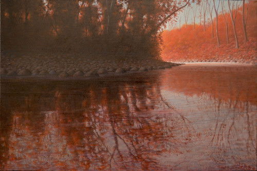 Fall Reflection In Nashville Tennessee Medium: Oil on Canvas