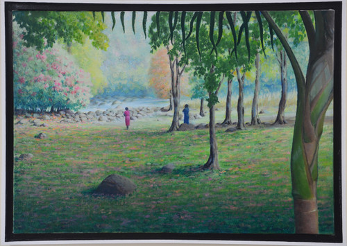 Solitude Lady in Red Original Oil Painting