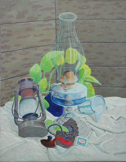 Light Source has a lamp, lampshade matches on a white sheet and is a painting by Artist Larrie Brown