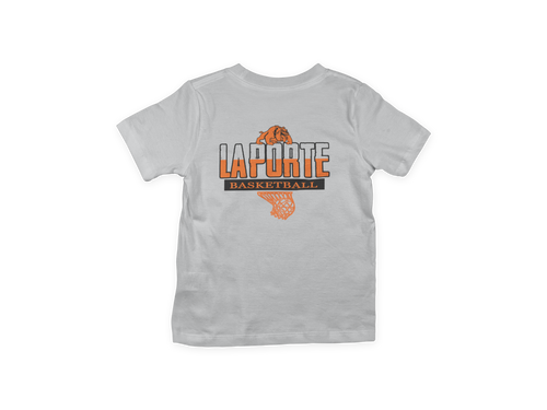 Youth Basketball Fan Tee/Orange & Black Print