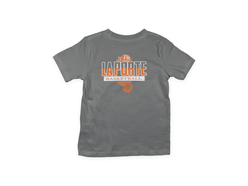 Youth Basketball Fan Tee/Orange & White Print