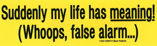 Suddenly my life has meaning! Whoops, false alarm Bumper sticker #1324