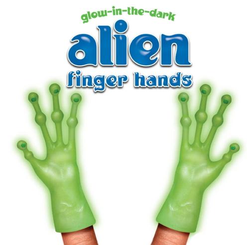 GLOW-IN-THE-DARK ALIEN FINGER HANDS  Set of 2 (1 Pair)