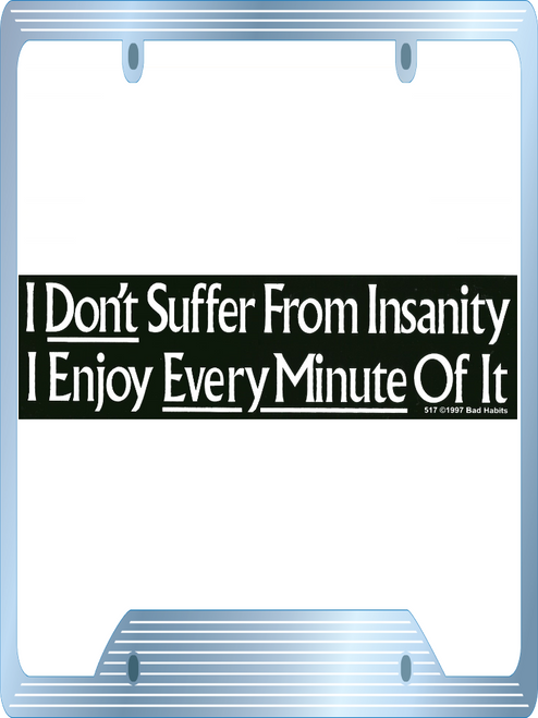 I Don't Suffer from Insanity I Enjoy every Minute of it Bumper Sticker #517