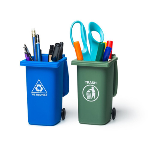 Mini Trash & Recycle Can Set