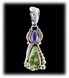 Carico Lake Turquoise with Sugilite - Silver Pendant