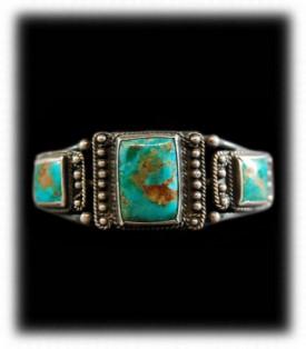 Vintage Silver Jewelry - Navajo Turquoise Bracelet