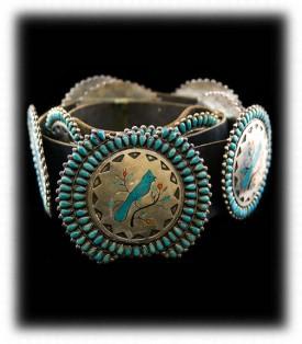 Zuni Inlay Concho Belt