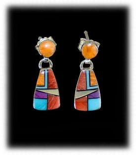 Zuni Inlay Earrings - Zuni Jewelry