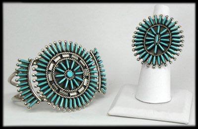 Vintage Zuni Jewelry - Needlepoint Pendant