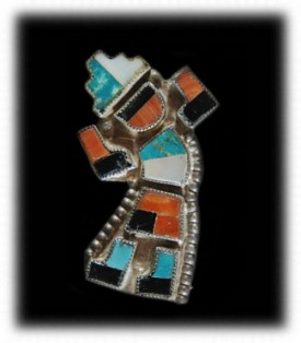 Zuni Inlay Rainbow Man Pin