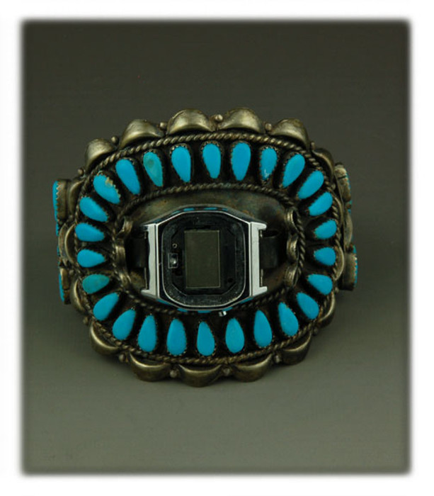Wide Turquoise Cluster Watch Bracelet
