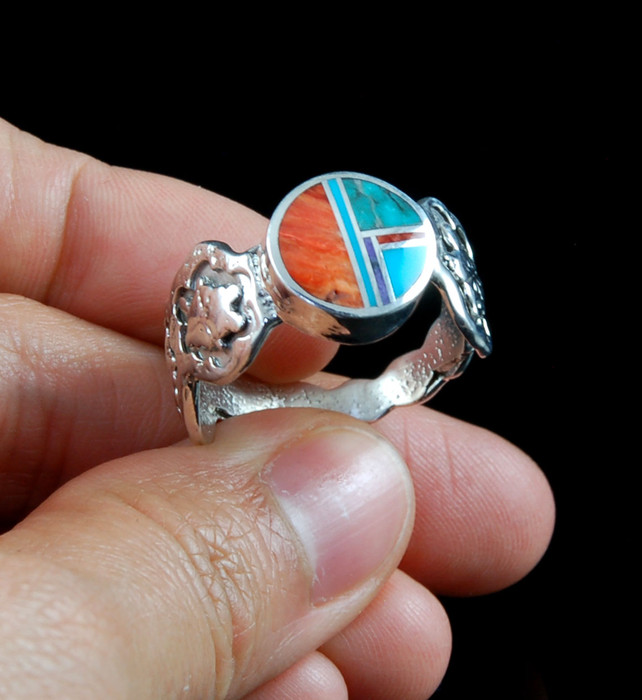 Multi Colored Inlay Turtle Overlay Ring