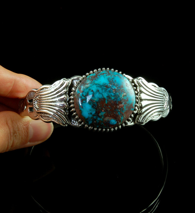 Stamp Work Silver and Bisbee Turquoise Bracelet