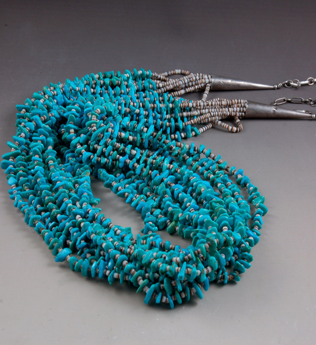 Eleven Strand American Turquoise Bead Necklace