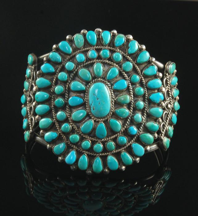 Vintage Green Turquoise Cluster Bracelet
