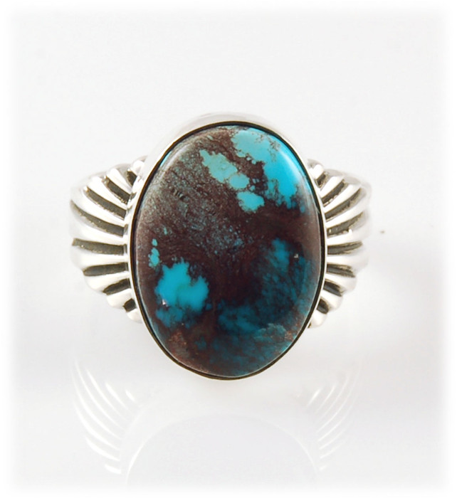Sunburst Silver Ring with Smoky Bisbee Turquoise Size 9.5