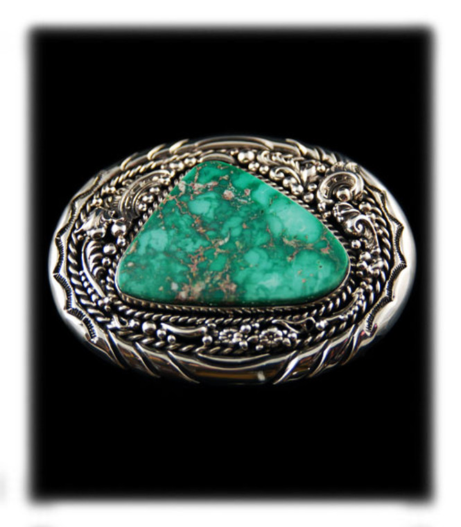 Heavy Western Silver Buckle With Green Turquoise