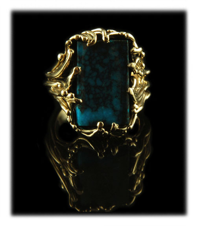 Paiute Turquoise Ring in 14k Yellow Gold