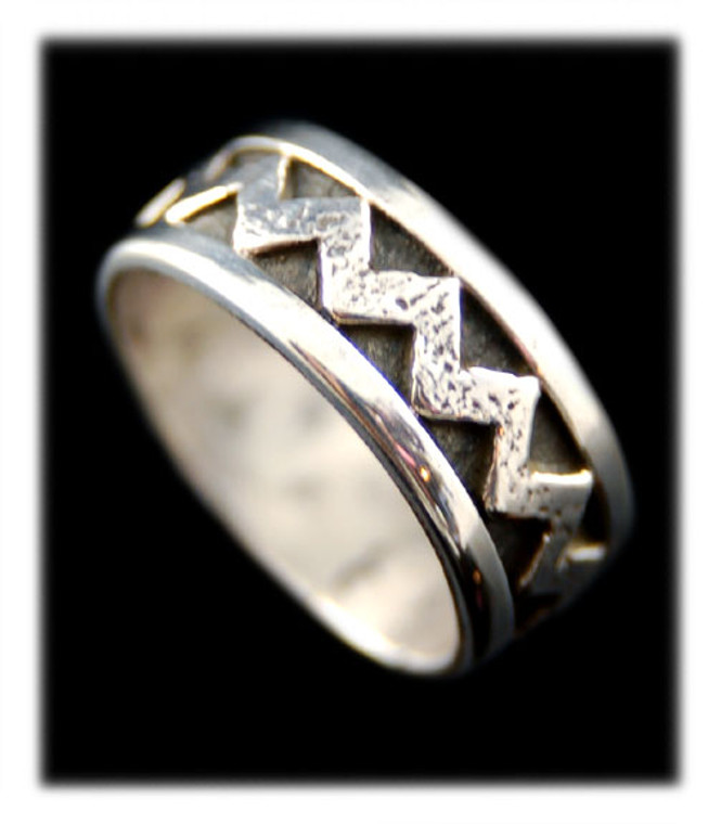 Silver Ring Band - Zigzag Design