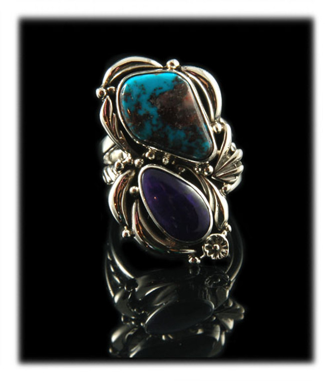 Double Stone Bisbee Turquoise and Sugilite Ring