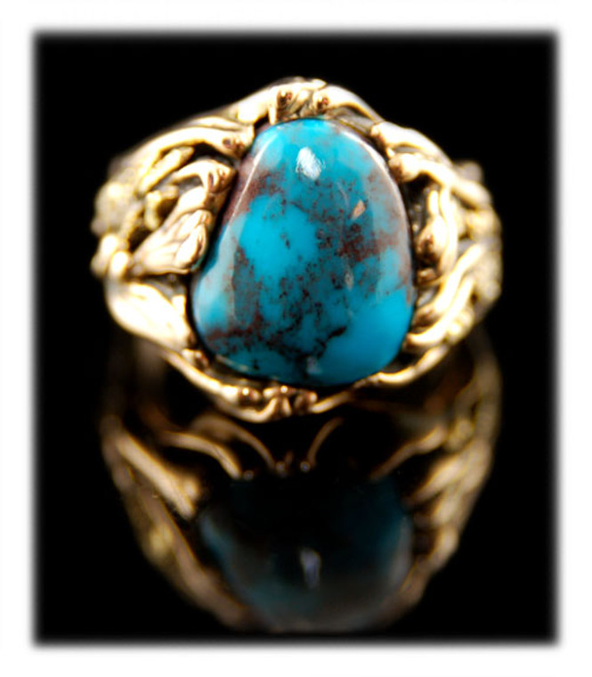 Smoky Bisbee Turquoise Gold Ring