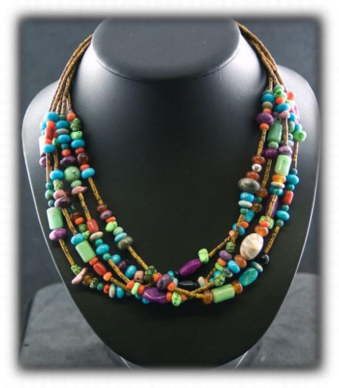Five Strand Earth Tone Gemstone Bead Treasure Necklace
