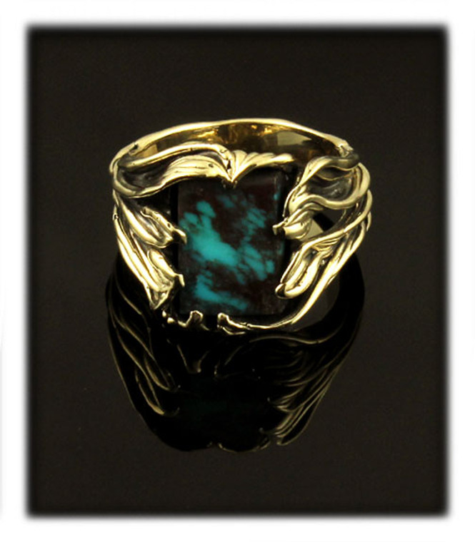 14k and Top Gem Bisbee Turquoise Ring