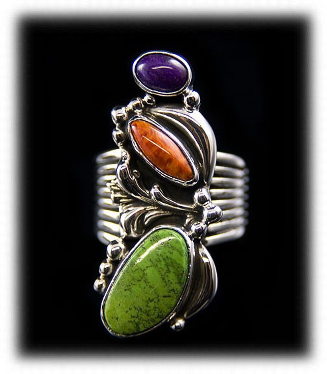 Victorian Style Multi Color Sugilite Spiny Oyster and Gaspeite Ring