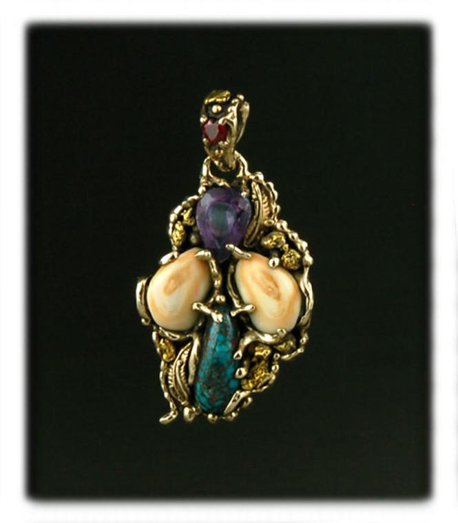Organic 14k Gold and Gemstone Pendant