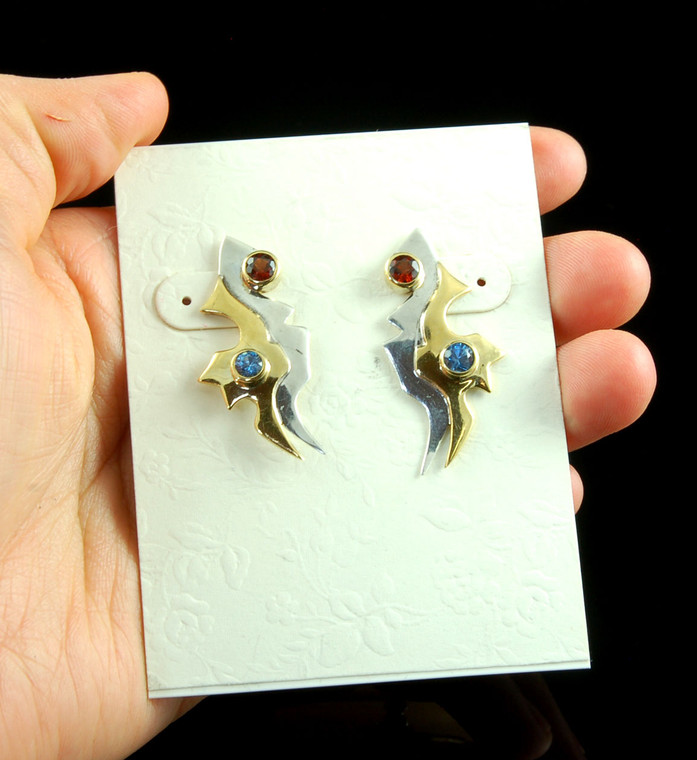 Modernist Silver and Gold Post Earrings with Gemstones