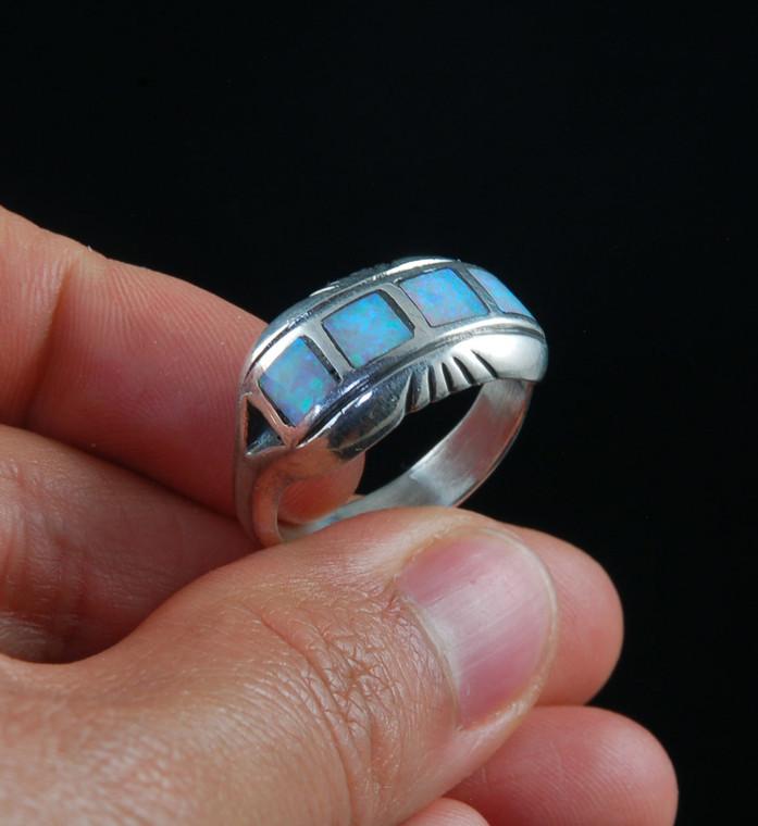 Fire Opal Inlay Swiss Ring