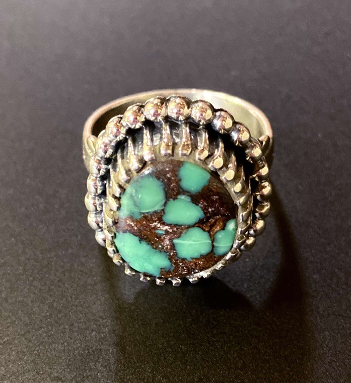 Damele Variscite and Sterling Silver Ring with Arrow Band