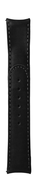 """ESSENCE """"Deployant"""" Black Leather Strap Grey Stitching (without clasp)"""