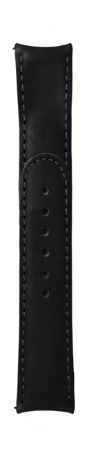 """ESSENCE """"Deployant"""" Black Leather Strap Blue Stitching (without clasp)"""