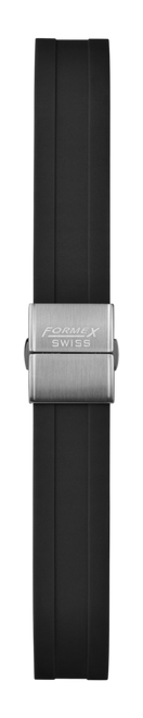 Rubber strap black (with steel folding clasp)