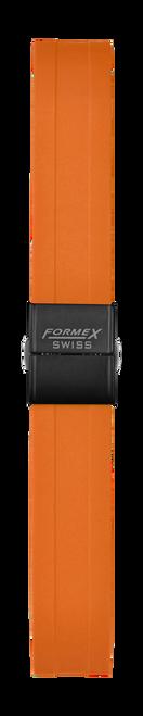 Rubber strap orange (with black steel folding clasp)