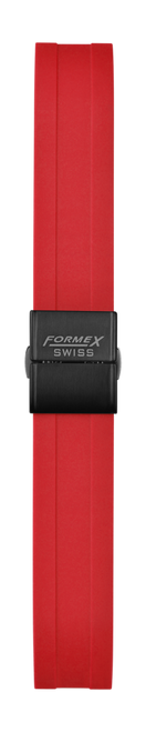 Rubber strap red (with black steel folding clasp)